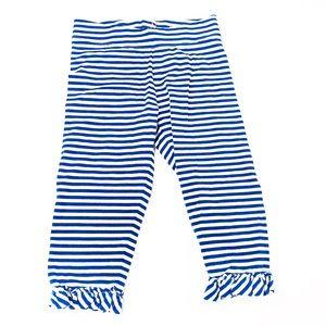Mini Boden Blue Stripe Crop Leggings with ruffle